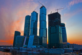 Moscow city. Sunset