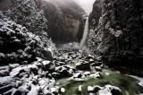 Lower Yosemite Falls in fresh snow