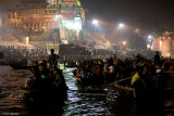Cruising the Ganga at night  during The Festival Dev Deepavali