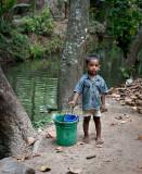 Helping his dad fish.