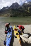 Preparing the kayak trip, String Lake
