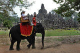 Elephant ride around Bayon, Central Angkor Thom