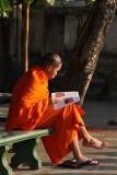 Reading at Wat Saen