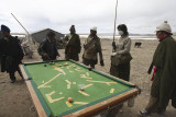 Snooker players near Nam-tso Lake