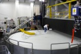 THIS PICTURE SHOWS THE MASSIVE OVEN THAT SPINS WHILE PRODUCING  MIRRORS AT HIGH TEMPERATURE
