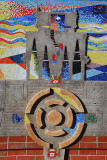 THE MURAL WAS DONE BY A NATIVE AMERICAN ARTIST AND FILLED WITH ASTRONOMICAL SYMBOLS