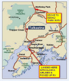 THIS WAS OUR ROUTE FROM ANCHORAGE TO DENALI NATIONAL PARK-ABOUT 280 MILES NORTH ON THE PARK HIGHWAY-NOTICE THE LACK OF ROADS