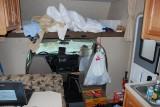 SOMETIMES IT GOT A BIT MESSY-CLOSE QUARTERS FOR SURE AT ONLY 200 SQ FT FOR 2 ADULTS AND A DOG