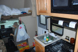WE HAVE YET TO EAT OUT IN ALASKA....DON MAKES DELICIOUS MEALS  WITH OUT ENOUGH COUNTER SPACE FOR SURE..