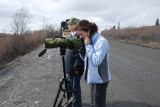 SARA OFTEN SHARES THE JOYS OF BIRDING WITH OTHERS IN THE PARK..