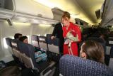 Megan boarding the flight