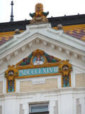 Details of County Hall (1897) in Pecs, Hungary
