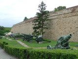 WWII Military Equipment Along a Wall in Kalemegdan Fortress