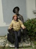 In Skadarlija, Susan Sitting in the Lap of Dura Jaksic (famous Serbian poet)