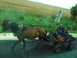 Passing a Rubber-tired Cart on Bulgarian Road