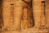 The statues of wife Nefertari and of sons and daughters
