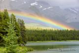 Rainbow on Maligne Lake