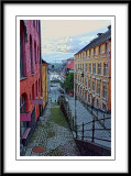 colorful apartments on a designer cobbled street....