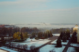 View on Kamianets Podilskyi Castle from hotel room - morning fog