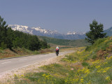 Robert bei der Auffahrt zum Morines-Pass nach Albanien