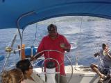 Dad piloting the yacht