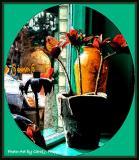 Vases in Local Restaurant Window.
