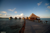 Overwater bungalow in the morning