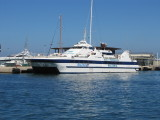 In early July 2012, Balear Jet was introduced onto the Ibiza-Formentera Route - almost certainly diverted from her usual Mallorca-Menorca route as a replacement for the ill-fated Maverick Dos during the high season.  Chartered from Interisles, she returned to Mallorca at the end of September 2012.  Currently registered in Limassol, Cyprus, Balear Jet was built by AA Marine Brodrene - Hyen, Norway in 1989 and was originally named San Pietro, operating between Germany and Denmark, Finland and Estonia, England (Newhaven) and France. In 1997 she was re-named Maria Dolores and operated in the Balearics for Interilles Express. In 2002 she was re-named Sea Jet 1, operating in Malta the Adriatic Sea. After being laid-up in Greece for a period, in 2007 she was bought by Interilles Express and later re-named Balear Jet , operating between Mallorca and Menorca.