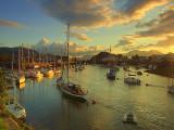 Sunrise over Porthmadog harbour.