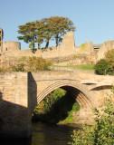 Barnard  Castle  bridge, with castle  walls  above.