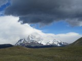 sighting the cerros; Fitz Roy lost in the clouds