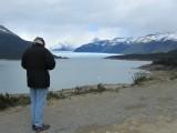 inside Los Glaciares National Park, Tom shoots a first view of the Perito Moreno glacier