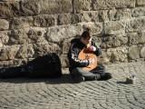 busking Ukrainian folk songs