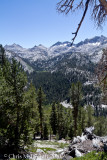 View from switchbacks to Tully Hole - mountains of the Silver Divide and Tully Hole.