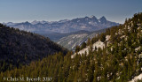 View back to The Minarets, Mt Ritter, and Banner Peak of the Ritter Range from near Squaw Lake