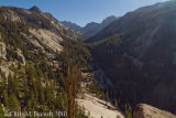 View up North Fork of Mono Creek.  Here the track decended a steeply amongst switchbacks on granite faces.