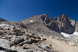 Way to Forester Pass, Gregorys Monument and Stanford Peak to the right