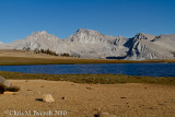 First view of Mt Whitney from tarn on Bighorn Plateau