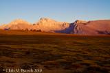 Sunlight leaving Bighorn Plateau, Mt Whitney et al. beyond