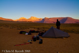 Campsite and evening sunset light