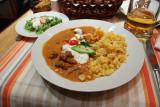Borjúpaprikás tojásos galuskával: Hungarian veal stew served with home made noodles.