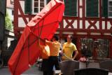medium red umbrella battle