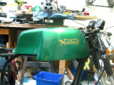 1057 Gas tank fresh from the painter (front fender and headlight shell are the same color)