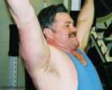 Big Arms Musclebear Moustache Daddy Firestation Workouts Man Lifting Weights biceps bench pressing