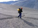 9- Simon on patterned ground permafrost polygons.JPG