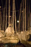 Sailboats in moonlight