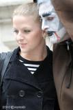 posing with street artist