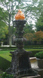 One of several elaborately-carved lamps in front of the Kykuit mansion.