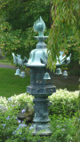 Several Japanese bronze lanterns (such as this) and Japanese cherry trees are part of the Asian influences of the Brook Garden.