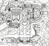 Garden plan of Kykuit with the house in the center.  The gardens were designed by William Welles Bosworth.